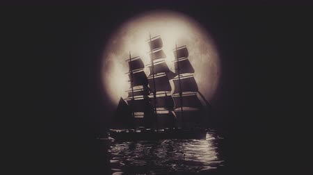 régi : Highly stylized view of a Tall Ship illuminated by a full moon. 4K UHD. Rendered at 16-bit color depth.