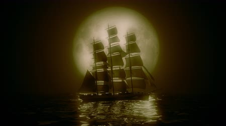 natura : Highly stylized view of a Tall Ship illuminated by a full moon. 4K UHD. Rendered at 16-bit color depth.