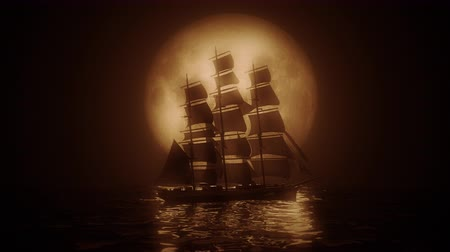 kalóz : Highly stylized view of a Tall Ship illuminated by a full moon. 4K UHD. Rendered at 16-bit color depth.