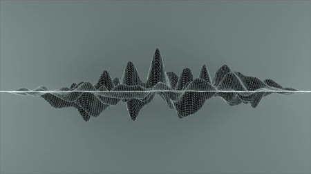 dimensão : Abstract wireframe lines looped in a wave pattern.