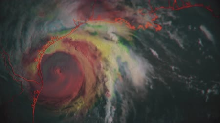 typhoon : Hurricane Harvey as seen just prior to making landfall. Animation with composited radar coloring for a unique look and style. 4K UHD animation.