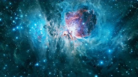 tajemnica : Flying through the Orion Nebula. 4K UHD animation rendered at 16-bit color depth.
