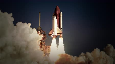 rockets : Space Shuttle launch in slow motion. (NASA logo removed) Elements furnished by NASA. Broadcast quality animation rendered at 16-bit color depth. 4K UHD.
