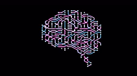 procesor : Seamless looping animation of a brain circuit board. 16-Bit. 4K UHD. Wideo