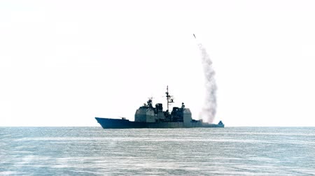 aggression : 3D animation of a Navy vessel firing off a long range missile. Stock Footage