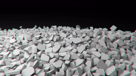 demolition : Animation depicting a crumbling, collapsing wall. 4K UHD
