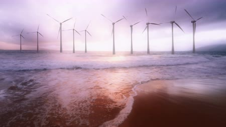 parque eólico : Gorgeous shot of a working wind farm with spinning turbines.