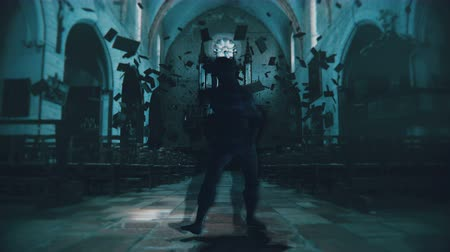 perili : A glitching, digital creature walks terrifyingly towards camera in an abandoned church. 3D animation featuring stylized distortion in 4K with broadcast quality color depth. Stok Video