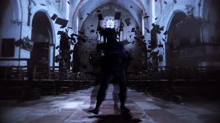 lidércnyomás : A glitching, digital creature walks terrifyingly towards camera in an abandoned church. 3D animation featuring stylized distortion in 4K with broadcast quality color depth. Stock mozgókép