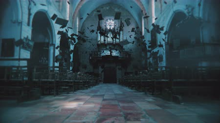 perili : Bibles float in a haunted church. 3D animation featuring stylized CCTV distortion to represent the presence of something unholy. 4K with broadcast quality color depth.