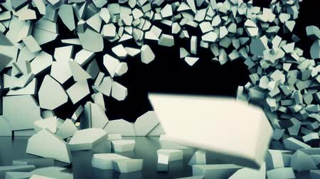 destruir : Animation depicting a crumbling, collapsing wall. 4K UHD