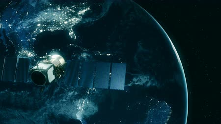 navigasyon : Incredibly realistic view of a satellite in orbit around Earth. Stok Video