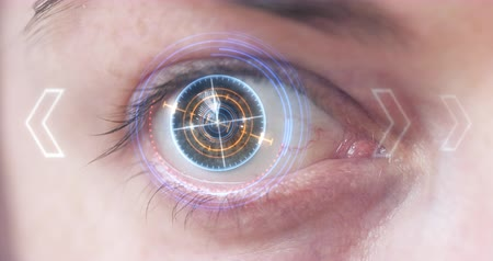 face id : Futuristic Eye HUD monitor. Sci-Fi concept. 4K animation Stock Footage