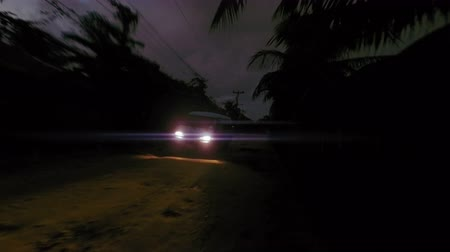 tajemnica : A van passes by camera at night on a rough jungle road. Anamorphic lens flares. 4K footage.