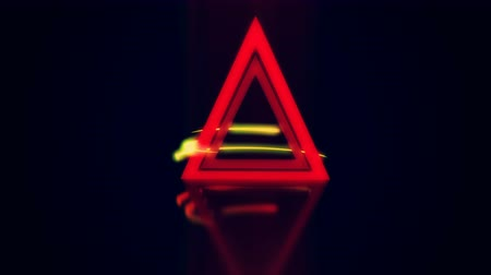 pryzmat : Light rays circle a glowing triangle. 4K UHD animation 3D render.