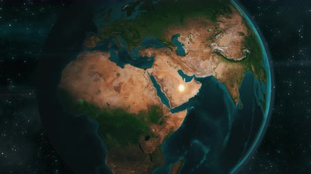 roket : Earth zoom to the Middle Eastern region. 4K UHD animation rendered at a 32-bit float depth. Stok Video