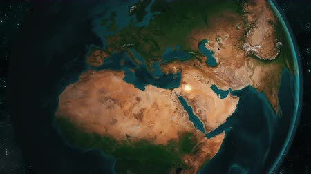 libya : Earth zoom to Syria region in 4K UHD. Broadcast quality animation.