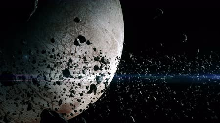 render : 4K animation of asteroids surrounding the moon Europa.
