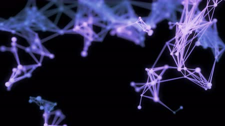 ağlar : Abstract Particle Network Organically Expands Across The Frame. 4K UHD animation.