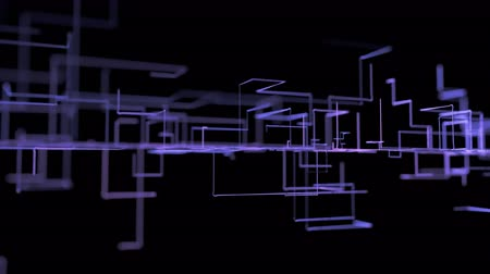 filaire : 4K Abstract Circuit Growth. Animation 3D