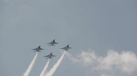 авиашоу : 4K US Air Force F-16 Thunderbirds in formation. Slow Motion. Стоковые видеозаписи