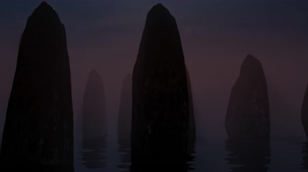 poloostrov : Rock formations protude along the coast. 3D animation.