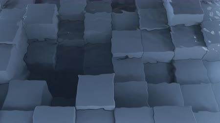 render : 4K Abstract Cubes Displaced Underwater. Unique design. Seamless loop. Stok Video
