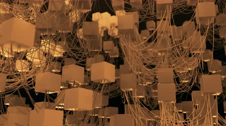 facets : 4K Abstract Cubic Network Nodes and Wires. Seamless loop.