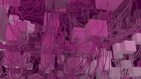 blocos : 4K Abstract Cubic Network Nodes and Wires. Seamless loop.
