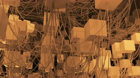 conectado : 4K Abstract Cubic Network Nodes and Wires. Seamless loop.