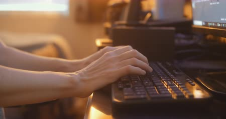 istatistik : Womans Hands Typing On Keyboard. 4K Footage. Stok Video