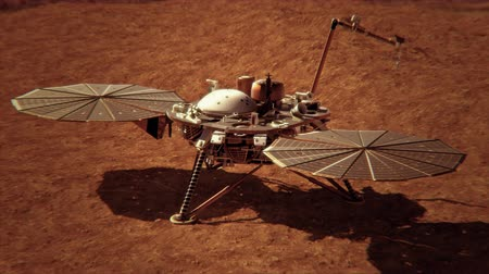 haladás : 4K NASA InSight Lander on the Surface of Mars. 3D CGI animation. (Elements furnished ny NASA)