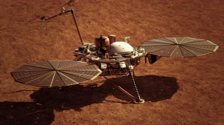 docking : 4K InSight Lander on the Surface of Mars. 3D CGI animation.