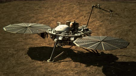 docking : 4K NASA InSight Lander on the Surface of Mars. 3D CGI animation. (Elements furnished ny NASA)