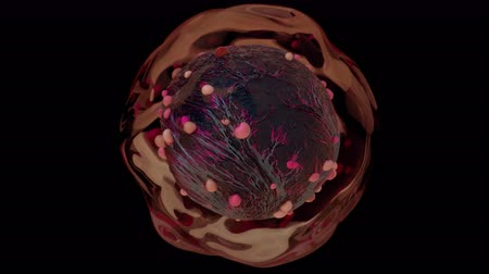 dividing : 4K Genetically Modified Alien Cell. Seamless loop.