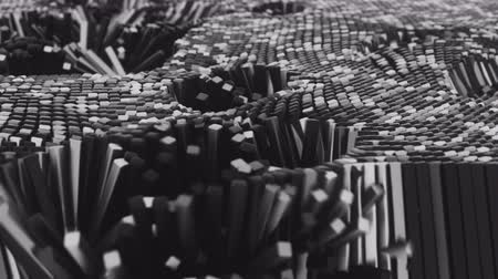 kitermelés : 4K Abstract Cubes Undulating in Waves. 3D CGI Tech Animation.