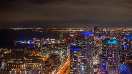 night scape : 4K Timelapse view of the Toronto Skyline. All distinguishable logos and trademarks removed in post.