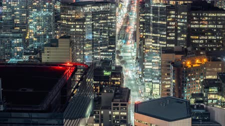 scape : 4K Timelapse view of traffic in downtown Toronto at night. All logos and trademarks removed in post.