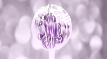 lâmpada : 4K Abstract Flower With Spheres. 3D CGI animation.