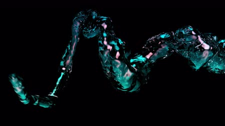 bükülme : 4K Shimmering Liquid Flow Across The Frame. 3D CGI Animation.