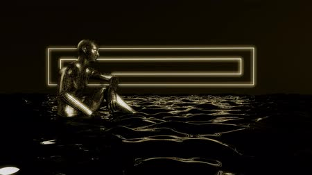 retorcido : Abstract humanoid form sitting in water. Sci-fi concept. 3D CGI animation.