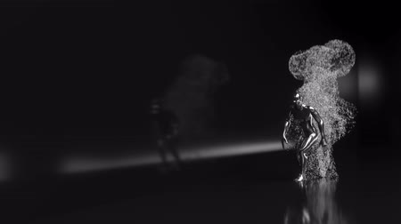 parçacık : 4K Abstract Human Form Emitting Particles. 3D CGI animation. Stok Video