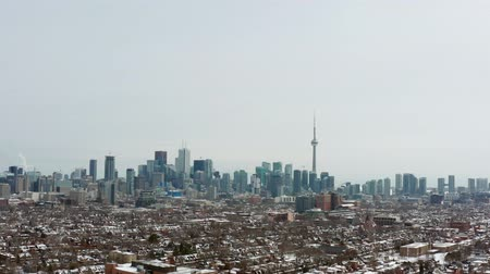 4K Aerial Establishing shot of a Toronto neighborhood during the winter. Cinematic shot.