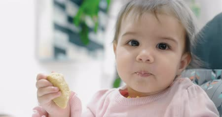 migalhas : Baby girl attemtping to eat a cookie by herself. Cinematic 4K footage. Real life, not staged.