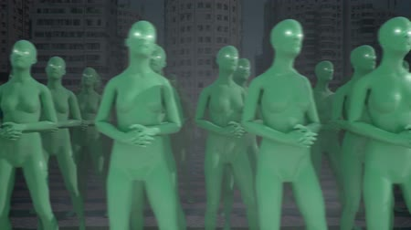 forma : Marching to the same beat. Herd mentality concept. 3D CGI animation. Dostupné videozáznamy