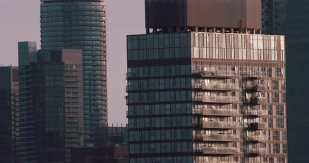 Establishing shot of skyscrapers. 4K filmic footage. Stock mozgókép