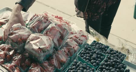 vegetarianismo : Woman shopping at a farmers market in the city. Shot in 4K on a cinema camera.