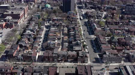 Aerial Establishing shot of a Toronto neighborhood during the spring. Cinematic 4K footage.