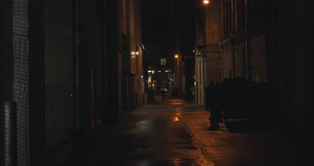 следы : Establishing shot of a dark alleyway at night. Atmospheric 4K footage. Shot on a cinema camera in RAW. No discernible faces or logos.
