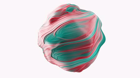 marbling : Abstract globular sphere with swirls. Seamless loop.